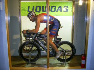 Aero position with Rudy Road Helmet at Wind tunnel on 1-27-2014